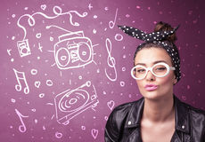 Happy funny woman with shades and hand drawn media icons. Concept on background Royalty Free Stock Images
