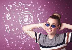 Happy funny woman with shades and hand drawn media icons Stock Photos