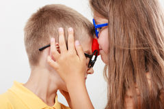Happy and funny young siblings. Stock Photo