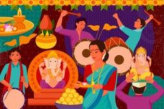 Happy Ganes Chaturthi festival celebration background Stock Images