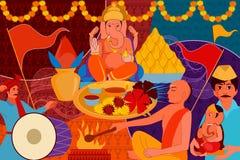 Happy Ganes Chaturthi festival celebration background Stock Image