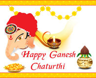 Happy ganesh chatrurthi celebration background with lord ganesha Stock Images