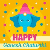 Happy Ganesh Chaturthi background, flat style. Happy Ganesh Chaturthi background. Flat illustration of happy Ganesh Chaturthi vector background for web design stock illustration