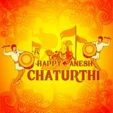 Happy Ganesh Chaturthi background in Indian art style Royalty Free Stock Photo