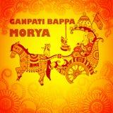 Happy Ganesh Chaturthi background in Indian art style. Vector design of Happy Ganesh Chaturthi background in Indian art style with text Ganpati Bappa Morya Stock Photography