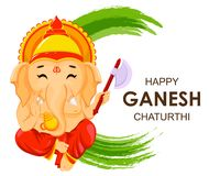 Happy Ganesh Chaturthi greeting card. For traditional Indian festival. Lord Ganesha in cartoon style. Vector illustration on green watercolor background stock illustration