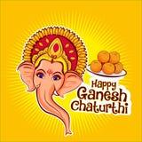 Happy ganesh chaturthi lord ganesha vector illustration. Hindu hindusim india indian asia asian prayer shiva son cute cartoon lado ladoo ladu plate sweets stock photography