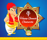 Happy ganesha chaturthi banner background with lord ganesha. Vector illustration Royalty Free Stock Photos