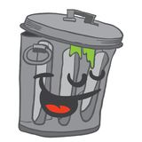 Happy garbage can. Cartoon illustration Stock Photography