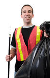 Happy Garbage Cleaner. A young worker picking up garbage and is smiling, isolated against a white background Stock Photo