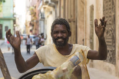 Happy garbage worker Havana Royalty Free Stock Images