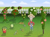 Happy gardener character at work Royalty Free Stock Image