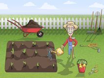 Happy gardener character at work Stock Images