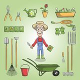 Happy gardener charactor set vector illustration