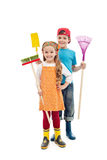 Happy gardener kids - with tools and rubber boots Stock Photo