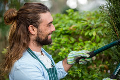 Happy gardener using hedge clippers at communicty garden Royalty Free Stock Photos