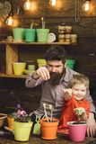 Happy gardeners with spring flowers. Family day. Greenhouse. bearded man and little boy child love nature. Father and. Son. Fathers day. Flower care watering stock photo