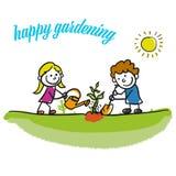 Happy gardening stickman kids Royalty Free Stock Photo