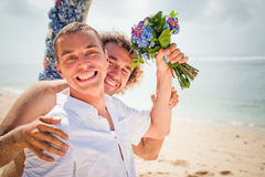 Happy gay couple stock image