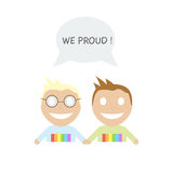 Happy gay couple with speech bubble Stock Images