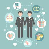 Happy gay couple in wedding attire and casual Royalty Free Stock Photos
