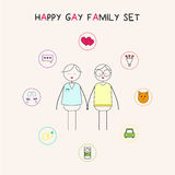 Happy gay family. Gay family and their dreams Stock Images