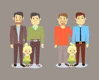 Happy gay LGBT men families with children Royalty Free Stock Photo