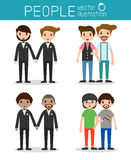 Happy gay, loving gay male couple on their wedding day and casual clothes Royalty Free Stock Image