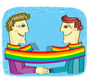 Happy gays couple with hands together. Royalty Free Stock Image