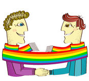 Happy gays couple with hands together. Royalty Free Stock Photos