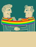 Happy gays couple with hands together.Vector  Royalty Free Stock Photos