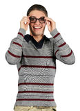 A Happy Geek. A nerdy guy smiles in gleeful surprise royalty free stock images