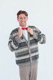 Happy geeky hipster with wool jacket. On white background stock photography
