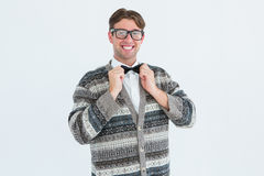 Happy geeky hipster with wool jacket. On white background stock photos