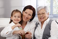 Happy generations playing together Stock Photo