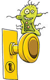 Happy Germ. A happy, cartoon germ waits on a doorknob to infect someone Stock Photography