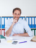 Happy german businessman at office Royalty Free Stock Photography