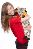 Happy german soccer fan with bengal cat Royalty Free Stock Photography
