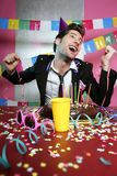 Happy gesture man in holiday party Royalty Free Stock Images