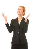 Happy gesturing businesswoman Royalty Free Stock Images