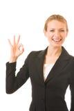 Happy gesturing businesswoman Stock Image