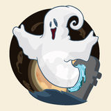 Happy Ghost Coming Out of a Portal, Vector Illustration royalty free stock image