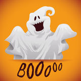 Happy Ghost Poster, Vector Illustration Royalty Free Stock Photo