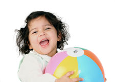 Happy gigl with a ball Royalty Free Stock Image