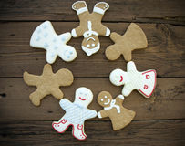 Happy Ginger Bread People Building a Circle Stock Image