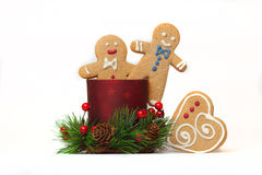 Happy gingerbread men isolated Royalty Free Stock Photo