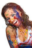 Happy gir smeared in paint Royalty Free Stock Photos