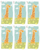 Happy Giraffe Visual Game. For children. Illustration is in eps8  mode! Task: Find two identical images (match the pair)! Answer: No. 3 and 4 Royalty Free Stock Image