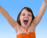 Happy girl. Joyful little girl Stock Photos