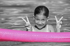 Happy Girl. Swimming and goofing off at the pool Royalty Free Stock Images